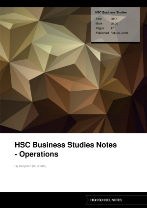 HSC Business Studies Notes - Operations | High School Notes
