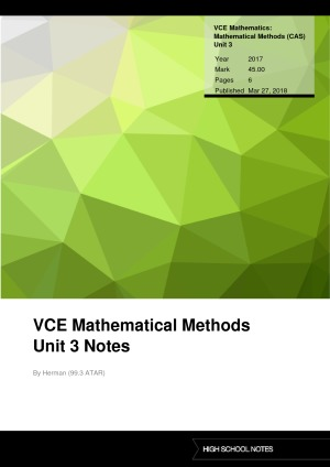 COMPLETE Maths Methods Summary Notes Units 3 and 4 | High