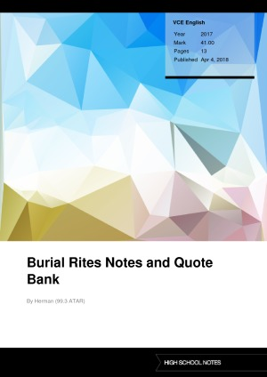 Burial Rites Notes High School Notes