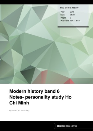 HSC Modern History Modern history band 6 Notes- personality study Ho Chi Minh
