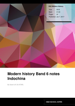 HSC Modern History Modern history Band 6 notes Indochina