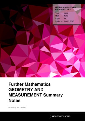 Further Mathematics COMPLETE Summary Notes | High School Notes
