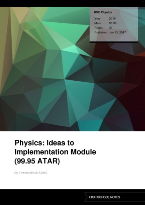 HSC Physics Physics: Ideas to Implementation Module (99.95 ATAR)