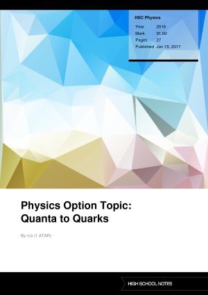 HSC Physics Physics Option Topic: Quanta to Quarks