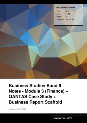 business studies finance qantas Business studies finance- qantas research paper other businesses can use to control cash flow cash flow is the measure of money flowing in and out of your business at any given time in an ideal business cycle, you will always have more cash flowing in than flowing out.
