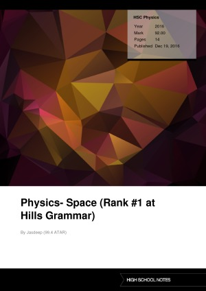 HSC Physics Physics- Space (Rank #1 at Hills Grammar)