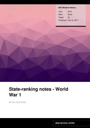 HSC Modern History State-ranking notes - World War 1