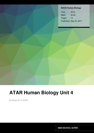 ATAR Human Biology Unit 4 | High School Notes