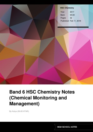 Band 6 HSC Chemistry Notes (Chemical Monitoring and Manag